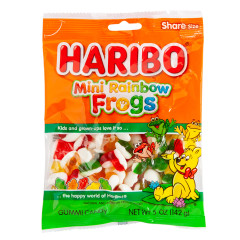 HARIBO MINI RAINBOW FROGS GUMMI CANDY 5 OZ PEG BAG