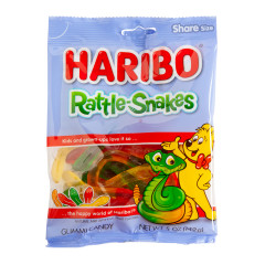 HARIBO RATTLE-SNAKES GUMMI CANDY 5 OZ PEG BAG