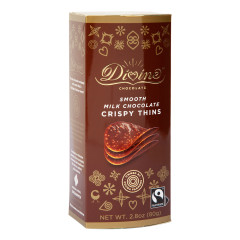 DIVINE MILK CHOCOLATE CRISPY THINS 2.8 OZ BOX
