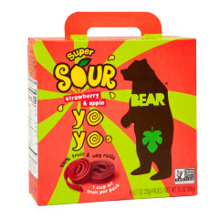 BEAR SOUR STRAWBERRY REAL FRUIT YOYOS (5 CT) 3.5 OZ