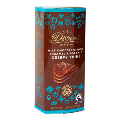 DIVINE MILK CHOCOLATE WITH CARAMEL & SEA SALT CRISPY THINS 2.8 OZ BOX