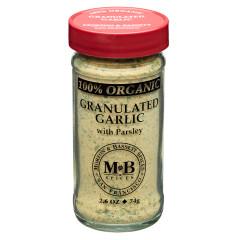MORTON & BASSETT 100% ORGANIC GRANULATED GARLIC 2.6 OZ SHAKER
