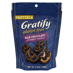 GRATIFY GLUTEN FREE MILK CHOCOLATE COVERED PRETZEL TWISTS 5.5 OZ POUCH