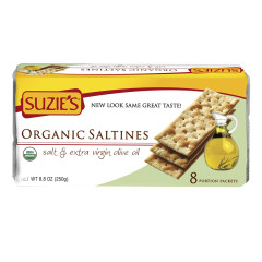 SUZIE'S ORGANIC SALTINES CRACKERS WITH EXTRA VIRGIN OLIVE OILO 8.8 OZ BOX