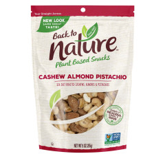 BACK TO NATURE CASHEW ALMOND PISTACHIO NUT BLEND 9 OZ POUCH