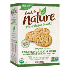 BACK TO NATURE ROASTED GARLIC AND HERB CRACKERS 8 OZ BOX