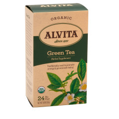 ALVITA TEA ORGANIC GREEN TEA BAGS 24 CT BOX
