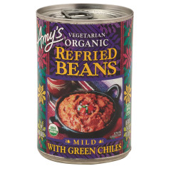 AMY'S REFRIED BEANS WITH GREEN CHILES 15.4 OZ CAN