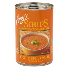 AMY'S GOLDEN LENTIL INDIAN DAL SOUP 14.4 OZ CAN