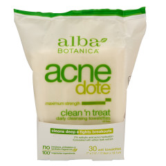 ALBA BOTANICA ACNEDOTE CLEAN & TREAT TOWEL 30 CT POUCH