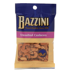 BAZZINI UNSALTED CASHEWS 1.5 OZ PEG BAG