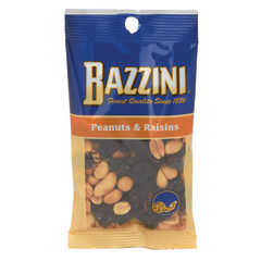 BAZZINI PEANUTS & RAISINS 3 OZ PEG BAG