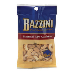 BAZZINI RAW CASHEWS 1.5 OZ PEG BAG
