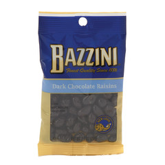 BAZZINI DARK CHOCOLATE RAISINS 2.75 OZ PEG BAG