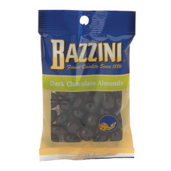 BAZZINI DARK CHOCOLATE ALMONDS 1.5 OZ PEG BAG