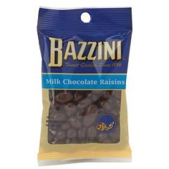BAZZINI MILK-CHOCOLATE RAISINS 2.75 OZ PEG BAG