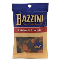 BAZZINI RAISINS & ALMONDS 2 OZ PEG BAG