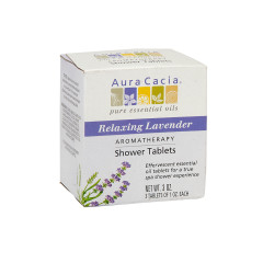 AURA CACIA RELXING LAVENDER SHOWER TABLETS 3 OZ BOX