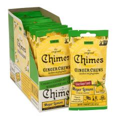 CHIMES MEYER LEMON GINGER CHEWS CONVENIENCE PACK 1.5 OZ PEG BAG