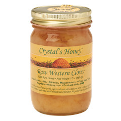 CRYSTAL'S HONEY RAW WESTERN CLOVER 17 OZ JAR