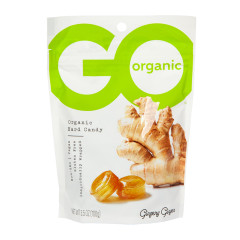 GO ORGANIC GINGER HARD CANDY 3.5 OZ POUCH
