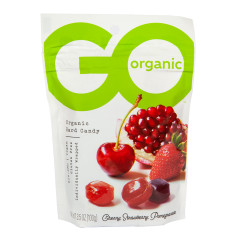 GO ORGANIC ASSORTED FRUIT HARD CANDY 3.5 OZ POUCH