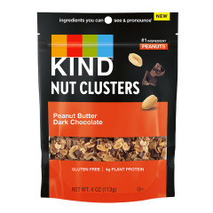 KIND-NUT CLUSTERS PEANUT BUTTER DARK CHOCOLATE 4 OZ POUCH