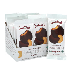 JUSTIN'S DARK CHOCOLATE CASHEW PEANUT BUTTER CUPS 2 PK 1.4 OZ