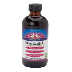 HERITAGE STORE ORGANIC BLACK SEED OIL 8 OZ BOTTLE