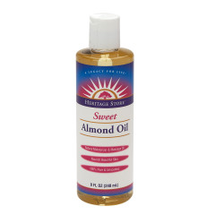 HERITAGE STORE ALMOND OIL SWEET WITH VITAMIN E 8 OZ BOTTLE