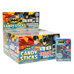 BATMAN & SUPERMAN TATTOO CANDY STICKS