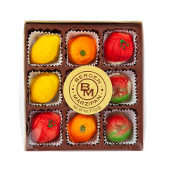 NASSAU CANDY MARZIPAN FRUIT GOLD BOX 4 OZ