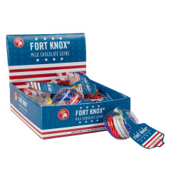 FORT KNOX - COINS - RED/WT/BL - MILK CHOCOLATE - 1.5OZ
