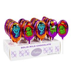 MADELAINE MILK CHOCOLATE FOILED HALLOWEEN MONSTER 0.75 OZ LOLLIPOP