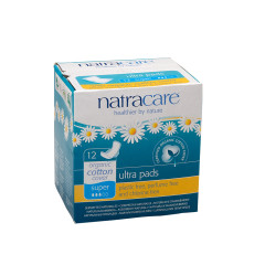 NATRCARE - ULTRA PADS WITH WINGS - SUPER - 12PCS