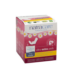 NATRACARE - ULTRA EXTRA PADS LONG W/WINGS - 8PCS