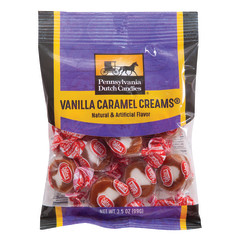 PDC CLEAR WINDOW BAG GOETZE'S CARAMEL CREAMS PEG BAG 3.5 OZ