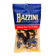 BAZZINI RAISIN NUT PARTY MIX 3 OZ PEG BAG