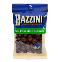 BAZZINI MILK CHOCOLATE PEANUTS 2.5 OZ PEG BAG