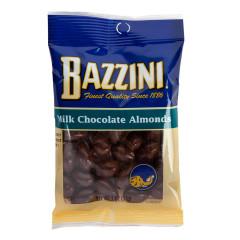 BAZZINI MILK CHOCOLATE ALMONDS 2.25 OZ PEG BAG