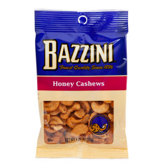BAZZINI HONEY ROASTED CASHEWS 1.5 OZ PEG BAG