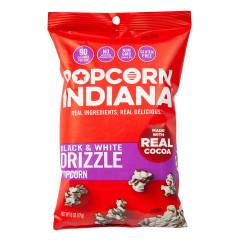 POPCORN INDIANA BLACK & WHITE DRIZZLE POPCORN 6 OZ PEG BAG