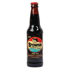 BROWNIE CARAMEL ROOT BEER SODA 4 PK 12 OZ BOTTLE
