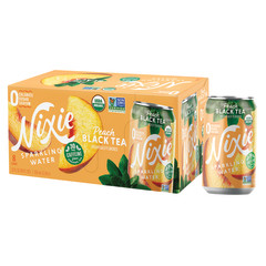 NIXIE ORGANIC PEACH BLACK TEA SPARKLING WATER 3 PACK 12 OZ CAN