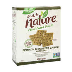 BACK TO NATURE - CRACKERS - SPINACH & GARLIC - 6.5OZ