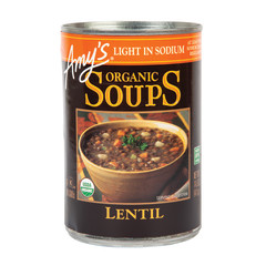 AMY'S LIGHT IN SODIUM LENTIL SOUP 14.5 OZ CAN