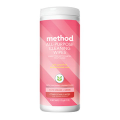 METHOD PINK GRAPEFRUIT ALL PURPOSE CLEANER WIPES 6.17 OZ TUBE