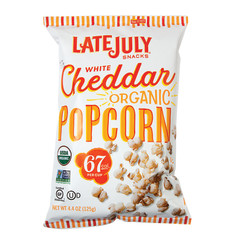 LATE JULY - ORGANIC POPCORN WHITE CHEDDAR - 4.4OZ - PK12