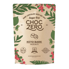 CHOCZERO SUGAR FREE KETO BARK DARK CHOCOLATE HAZELNUT 6 OZ POUCH
