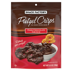 PRETZEL CRISPS DARK CHOCOLATE CRUNCH 5.5 OZ PEG BAG